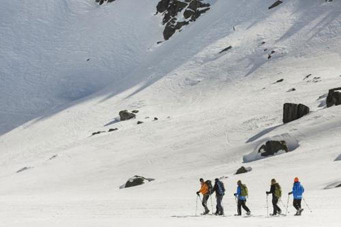 Schneewandern auf dem Altasee mit atemberaubender Aussicht
